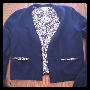 Anthropologie HWR Monogram Navy Cardigan in Small